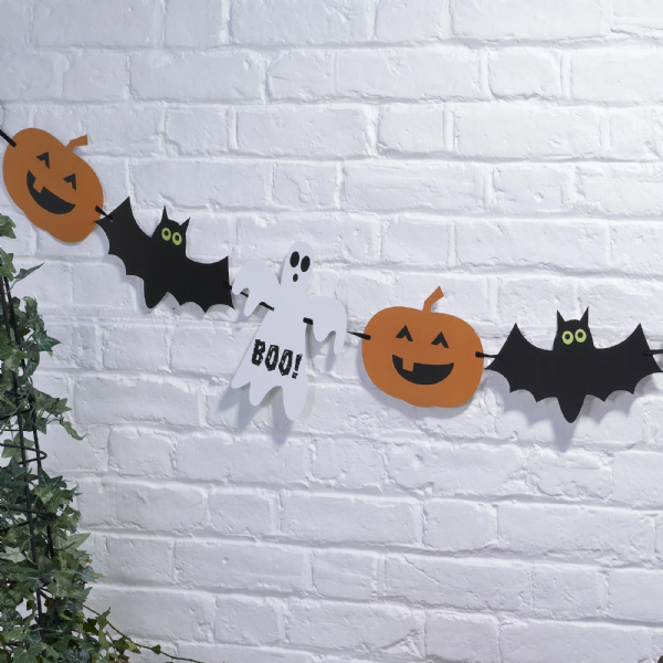 Happy Halloween Ghost Bat And Pumpkin Bunting